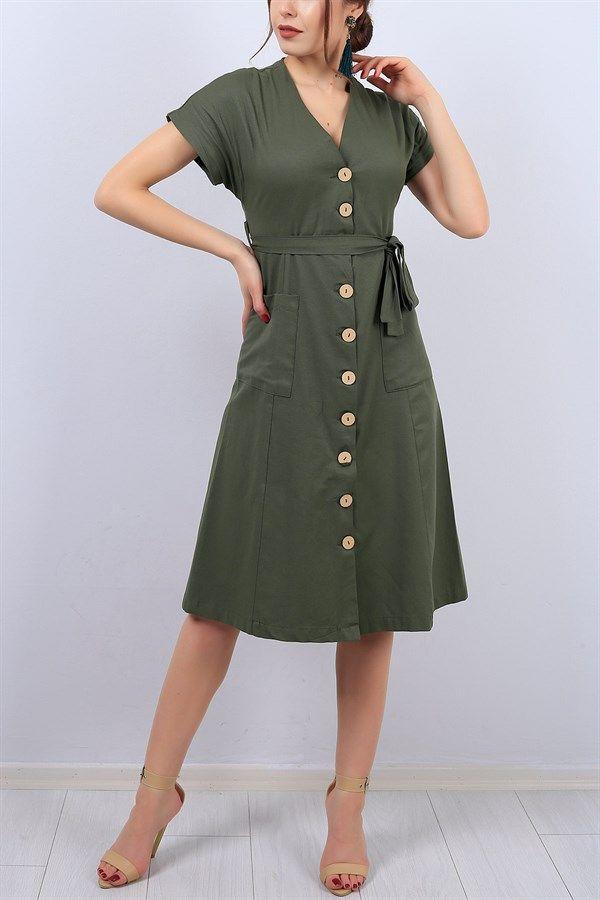 39 95 Tl Haki V Yaka Boydan Dugmeli Bayan Elbise 13140b Modamizbir Elbise Moda Stilleri V Yaka