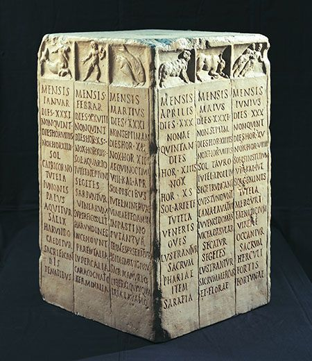 Roman Farmer's calendar. Rome, Museo della Civiltà Romana, inv. M.C.R. n. 3485 Each side bears the names of three months of the year. For each month we can see, starting from the top: the number of days in it; the day on which the Nones (the day of the Moon's first quarter) falls; the duration of the day and night expressed in hours; the sign of the zodiac; the protecting divinity; work to be attended to in the fields; and the most important festivities.
