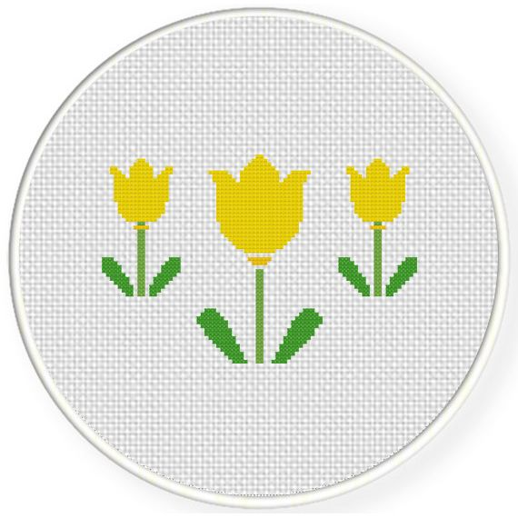 FREE for March 17th 2015 Only - Three Yellow Flowers Cross Stitch Pattern