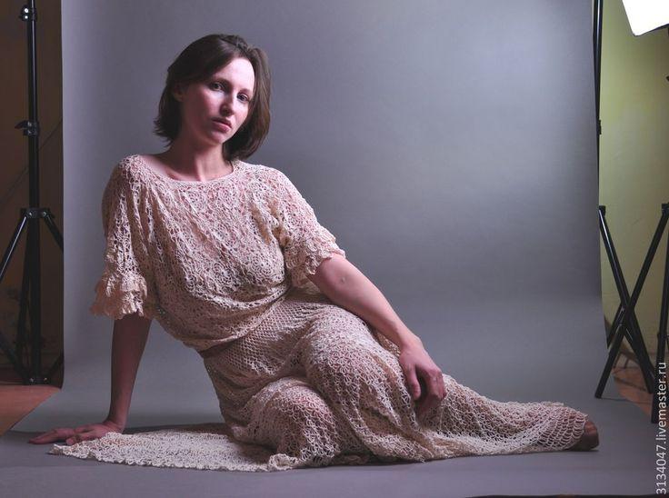 """Купить Платье """"Невесомость"""" - бежевый, однотонный, свадебное платье, вязанное платье, платье летнее"""