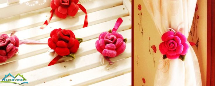 This product is flower curtain tie back with a size of 5.12 inch. The flower tie back has gentle organza ribbon that wrap around your curtains and a brooch in the back of it. The shape of this flower curtain tie back is rose flower with green leaves. It is made of cotton terrycloth and polyester fiber. It is perfect to enhance the cute theme in your rooms by adding a beautiful and unique touch to your windows. This product has infilling inside, which makes flower more vivid.