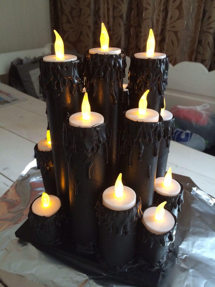 Wc rollen en keuken rollen om getoverd tot Halloween kaarsen. Goed gelukt al zeg ik het zelf