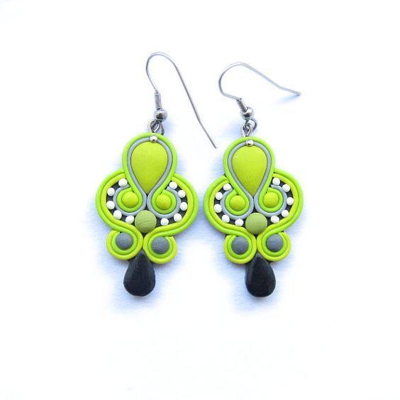 LIme Green Long Light Earrings, Statement Neon Earrings, Polymer Clay Earrings, Polymer Clay Soutache, Bridal Earrings, Contemporary Jewelry