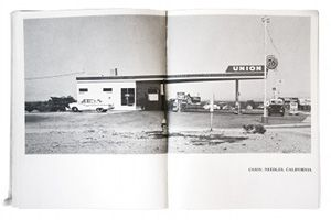 """Photographer Ed Ruscha on the """"vision"""" for his books: """"The attitude is just following through, following through with a feeling of blind faith that I had from the beginning....The books were easy to do once I had a format....Each one had to be plugged into the system I had."""" Image from Twentysix Gasoline Stations - 1963."""