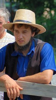 Young Amish man in blue shirt~ Sarah's Country Kitchen ~
