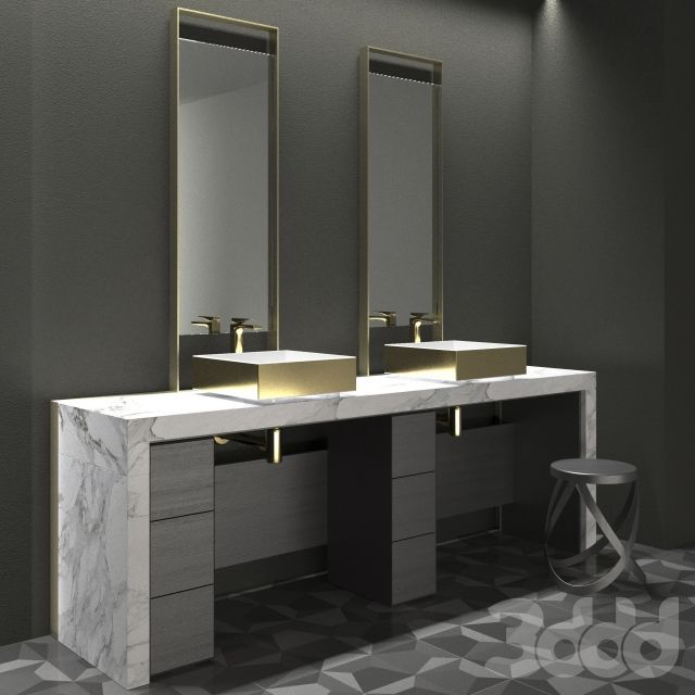 ZEN BATHROOM FURNITURE GOLD + CAPPELLINI RIBBON LOW