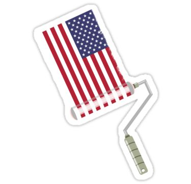 paint roller USA painter and decorator sticker