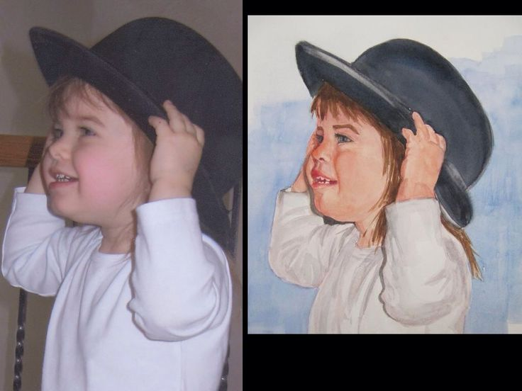 Here is my grand daughter at the age of 2 wearing her great great grandfathers wedding hat. Notice her incredible joy. Allow me to capture your special moments in pastels or like this one, in watercolor.  #portraits #family#restorativesportraits #watercolor