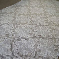 Vintage Hand Crochet Tablecloth White Filet Lace Cotton Floral Leaves on Etsy, $34.99