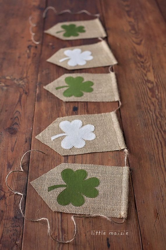 St. Patrick's Day Burlap Banner Shamrock Green Photography Prop by www.littlemaisie.etsy.com