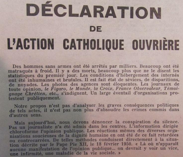 Des catholiques mobilisés pour dénoncer la répression  des manifestations du 17 octobre 1961