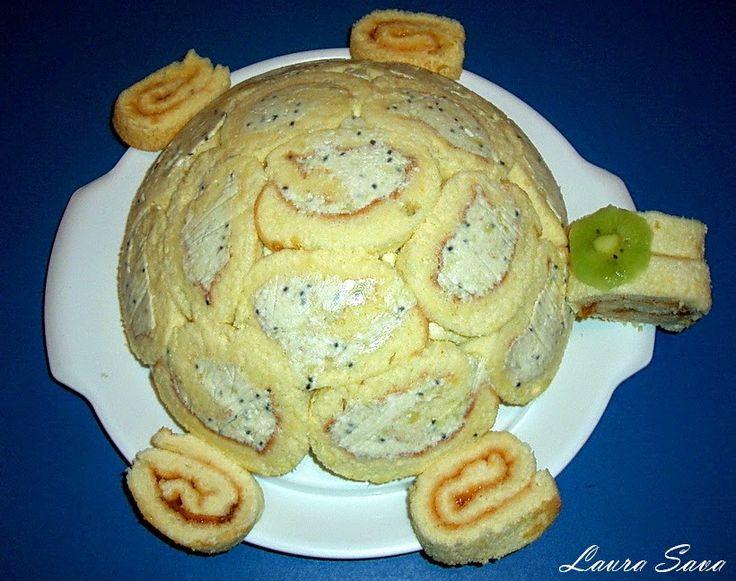 Cand mi-am propus sa fac un tort broscuta, num-am gandit o clipa ca vor fidoua :P…una mai mare, mama, si una mai mica, copilul :D.Cea mica e facuta in intregime dupa reteta asta: Rulada cu kiwi, iar cea mare e facuta din 2 rulade, umplute cu gem de caise si mousse de kiwi. Umpluturile …