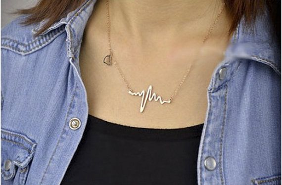 Black friday: Heartbeat NecklaceGold Plated Charm by FunIsStyle