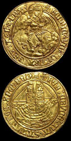 Ángel del oro del rey Enrique VIII (1509-1547) Primera moneda (1509-1526) 5,11 g (S.2265, N.1760). Obv. Menta Marcos - castillo con pellet izquierda. rev. castillo con derecho aspa.