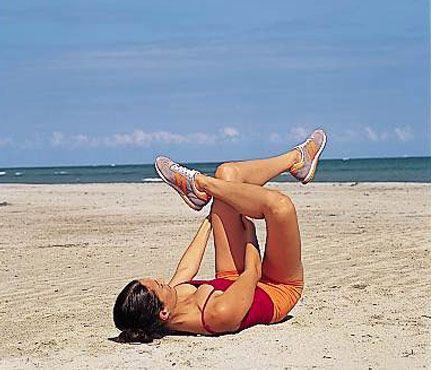 Best Stretches: Reclining Pigeon. Stretches lower back, hips, glutes, hamstrings #SelfMagazine