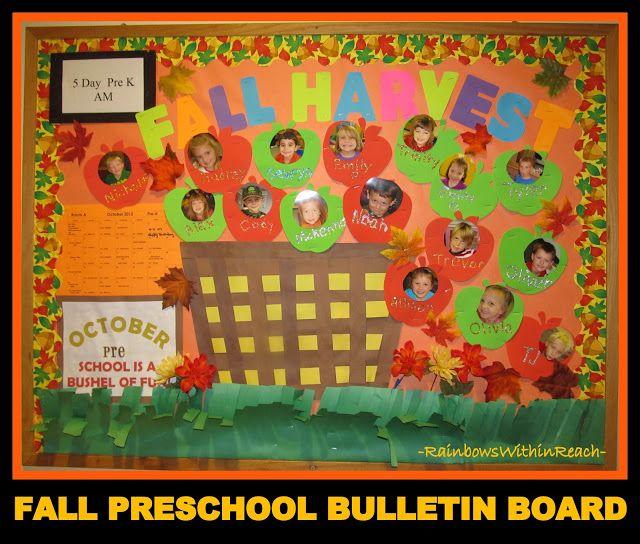 photo of: Preschool Bushel of Apples Bulletin Board with Photos of Children (via RainbowsWithinReach)