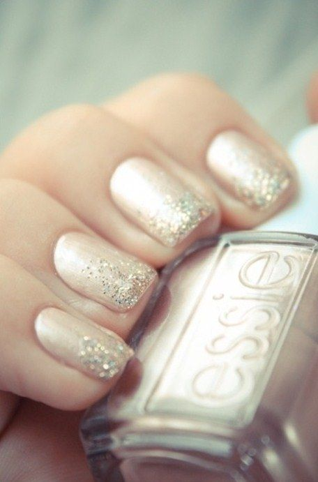 Nude nails + Glitter Biogel 12 with coral glitter
