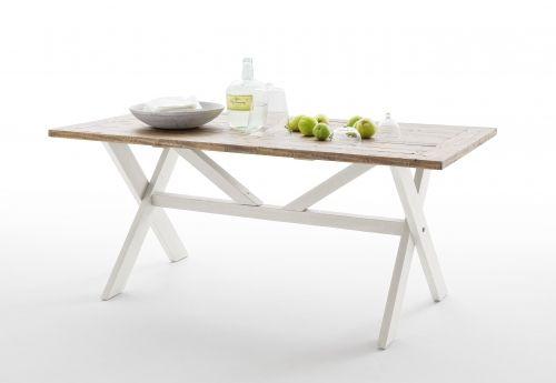 """Pent og tradisjonelt Byron spisebord med kryssben. Bordet kombinerer en rustikk hvit finish på understell med en """"vinatge brun"""" topplate i resirkulert furu."""