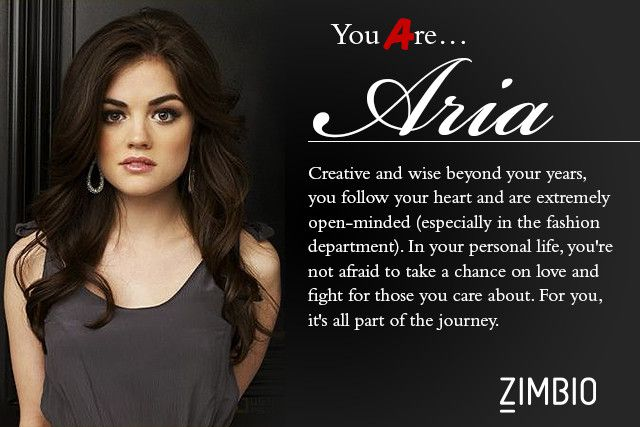 I took Zimbio's 'Pretty Little Liars' personality quiz and I'm Aria ! Who are you?
