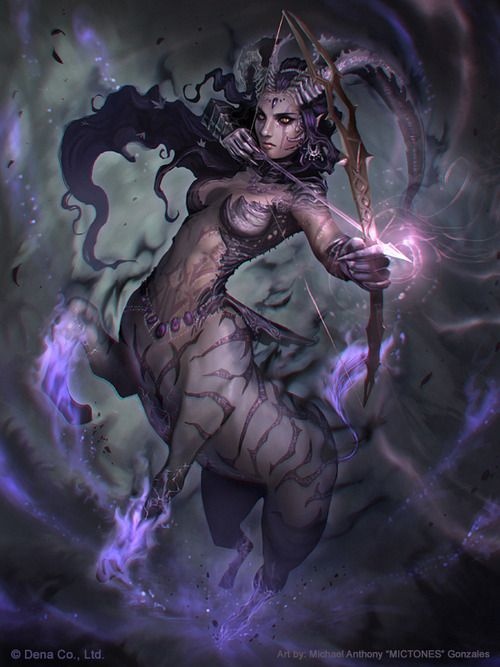 Fantasy creature much like the karalanth deer people in Dark Moon Rising only she has goat horns instead of antlers. #DarkMoonRising #Fantasy