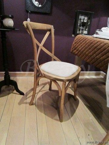 J-Line Landelijke rustieke stoel met gekruiste rugleuning beige . Prijs per stuk
