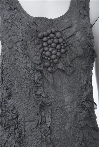 Nuno felted dress with 3D felt balls - textured fabric design; textile manipulation; felted fashion // Raw Edge Textiles
