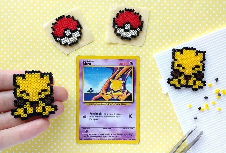 Omg. Cuteness overload with this adorable Abra!! ❤ Currently making this into a necklace but it will make an adorable pair of earrings as well . Okay, enough swooning . Pattern by N0W4R (I think!) • • • #abra #pokemon #minihamabeads #perlerbeads