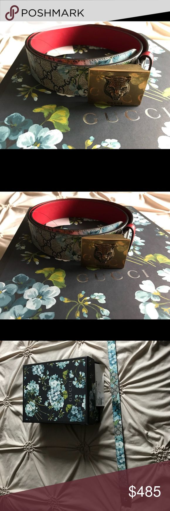 """New Gucci Supreme Feline Blooms Belt 100 CM THIS IS AN AUTHENTIC NEW GUCCI BELT WITH GUCCI x SUPREME CANVAS, NOT LIKE MOST OF THE OTHER """"GUCCI"""" BELTS HERE ON POSHMARK!  MEN'S BELT U.S. SIZE 34 - 40 INCHES.  NEW WITH DUST BAG AND TAGS.  RETAILS FOR $580!  MADE IN ITALY!!! CHECK MY CLOSET FOR THE MATCHING SHOES!!! Gucci Accessories Belts"""