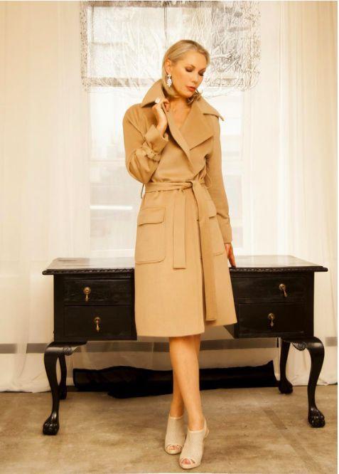 Liz Mitchell luxury tailoring-Winter Wool cashmere camel classic coat