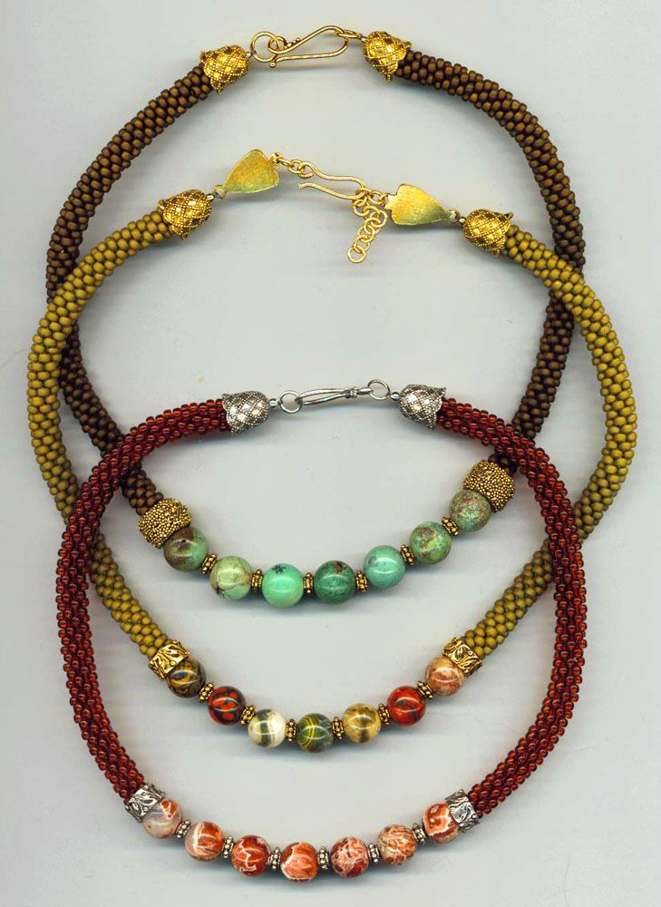 Rona Loomis bead crochet necklaces with focal beads