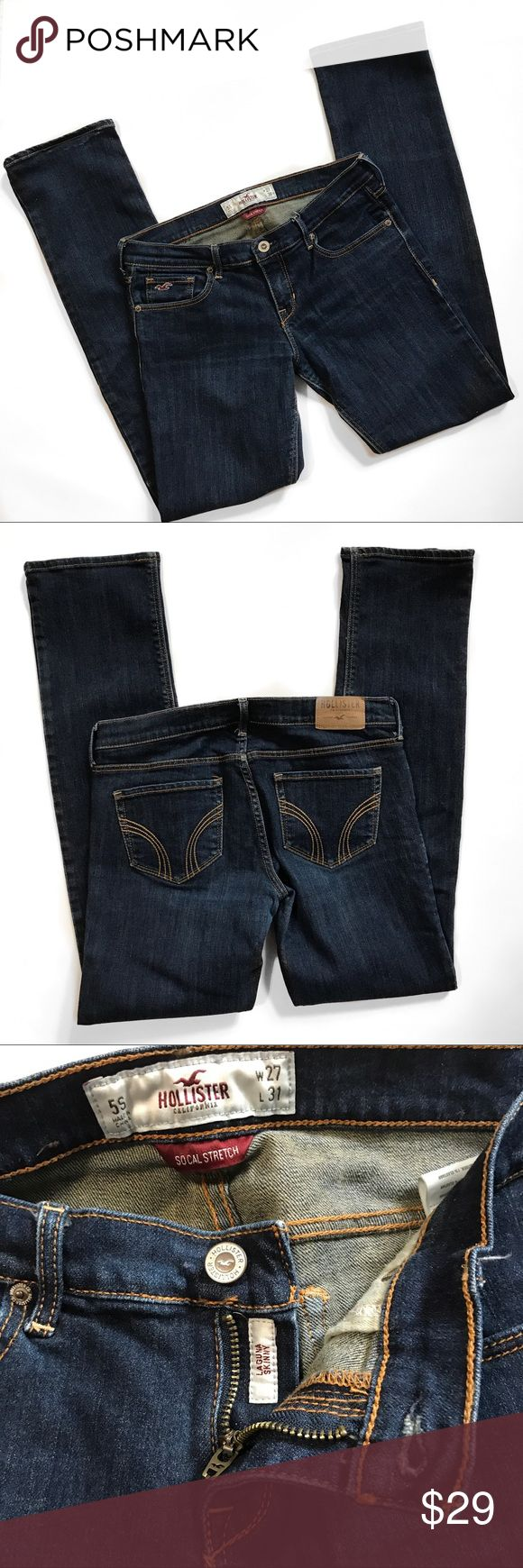 """Hollister Darker wash Laguna Skinny Jean Size 5 Great condition Darker wash laguna skinny jean...gold threading with a little wear to back bottom of pant legs but No fraying there or anywhere...could be a Dressy jeans with a great pair of heels...Size 5 they measure about 15"""" across waist laying flat (but stretched will give another 1-2"""") with an inseam about 30-30.25"""" and a rise of about 7""""....offers welcome, bundle to save more plus ⚡️📦📫😃💕 Hollister Jeans Skinny"""