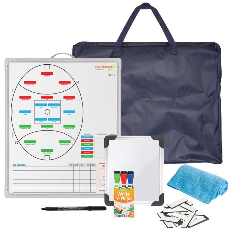 Coachsmart Advanced Kit.  Includes full colour double sided whiteboard, 36 whiteboard player magnets, 3 x whiteboard markers, permanent marker, cleaning cloth, small rotation whiteboard and carry bag.