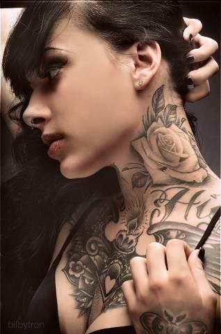 Inked Girl, black and grey Rose tattoo...