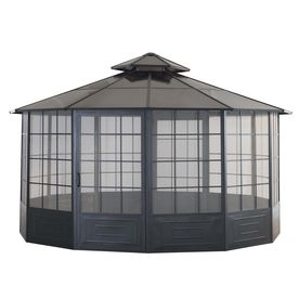 sunjoy allison pavilion black steel octagon screen included permanent gazebo exterior 14ft - Screened Gazebo