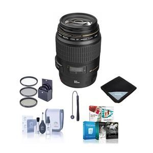 EF 100mm f/2.8 USM Macro Auto Focus Lens, USA - Bundle with 58mm Filter Kit, Lens Cap Leash, Lens Cleaning Kit, Lens Wrap (15x15) - with Pro Software Package