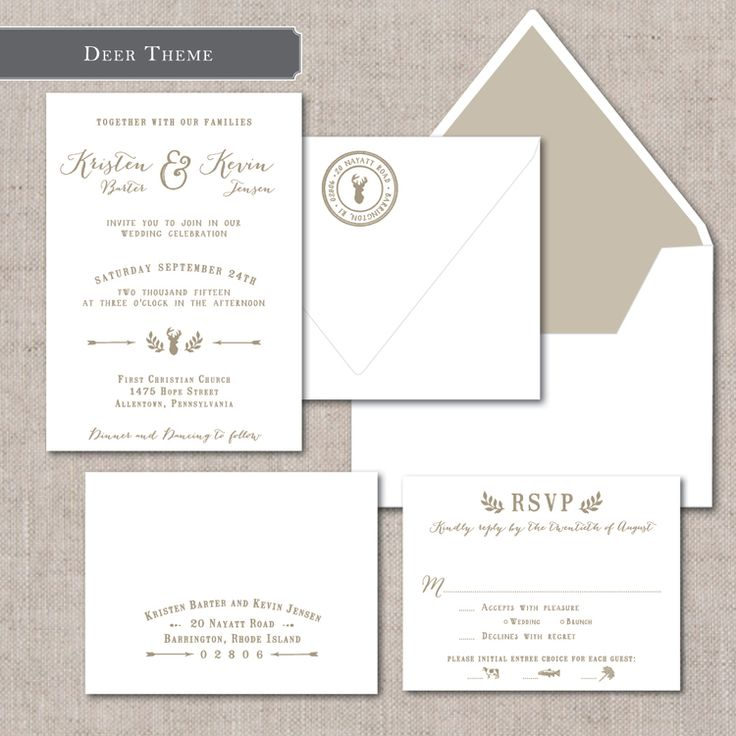Whimsical wedding invitation suite from The Collection by Paper Moss; Luxe ready to order invitations; letterpress; offset; envelope liner; deer antler icon | www.papermoss.com/invitationsshop