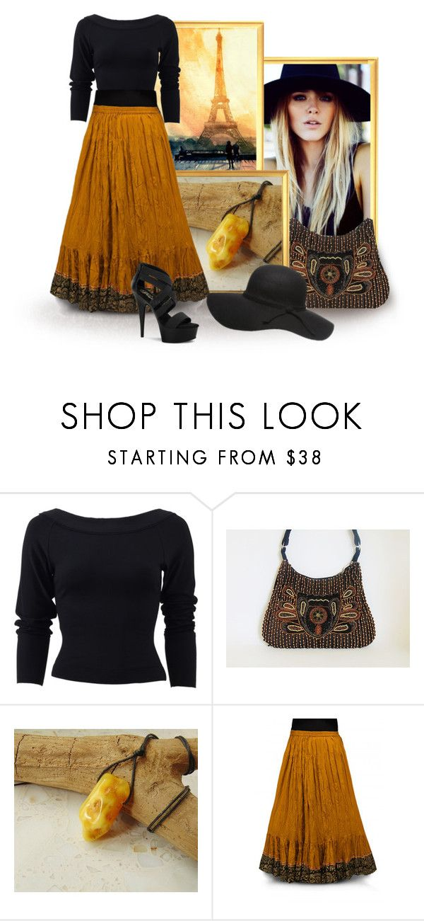 mustard and black outfits by styledonna on Polyvore featuring moda, Donna Karan, Pleaser, Handle and Janessa Leone