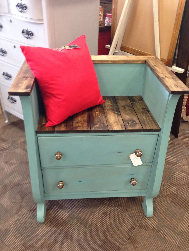 Annie Sloan Provence colored dresser bench