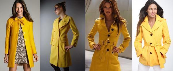 Желтое пальто сочетается