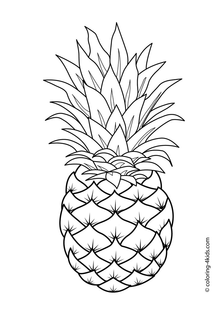pineapple fruits coloring pages for kids printable free - Coloring Printouts