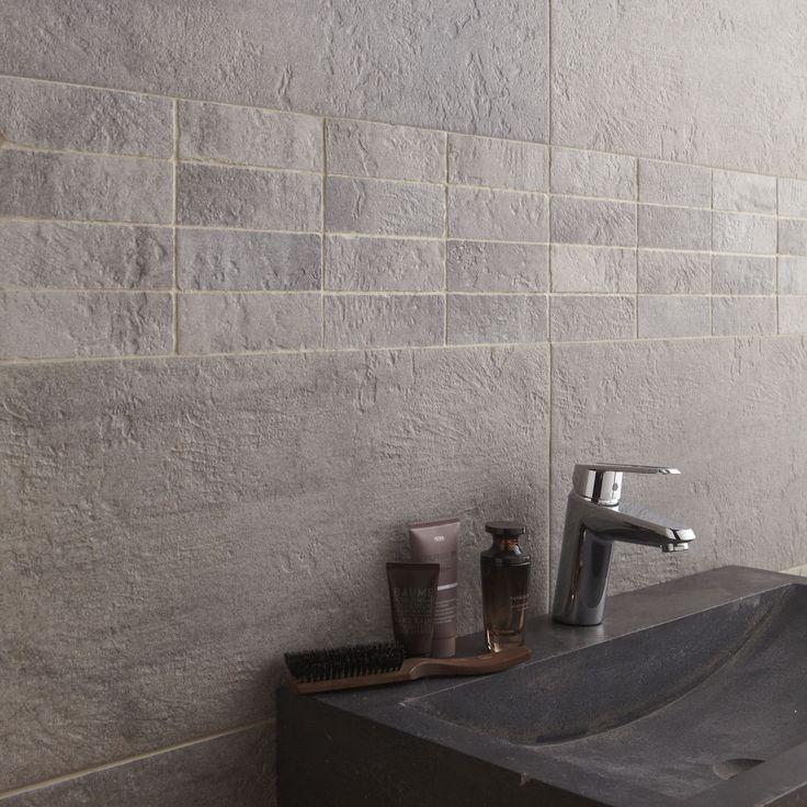 54 best Sdb images on Pinterest Bathroom, Bathroom ideas and - salle de bain carrelage gris et blanc