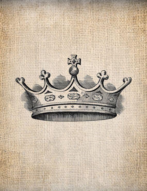 Antique Crown Royalty 6 King Queen Prince Princess Illustration Digital Download for Papercrafts, Transfer, Pillows, etc Burlap No 1383 via Etsy