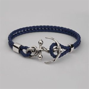 Nautical inspired men's large Anchor leather wrist bracelet handmade in solid silver with quality blue woven leather by leading men's unique jewellery designer Stephen Einhorn London. Free UK & worldwide shipping