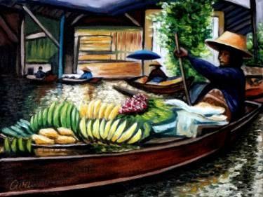 "Saatchi Art Artist Dan Civa; Painting, ""Floating Market, Bangkok, Thailand - No.I."" #art"