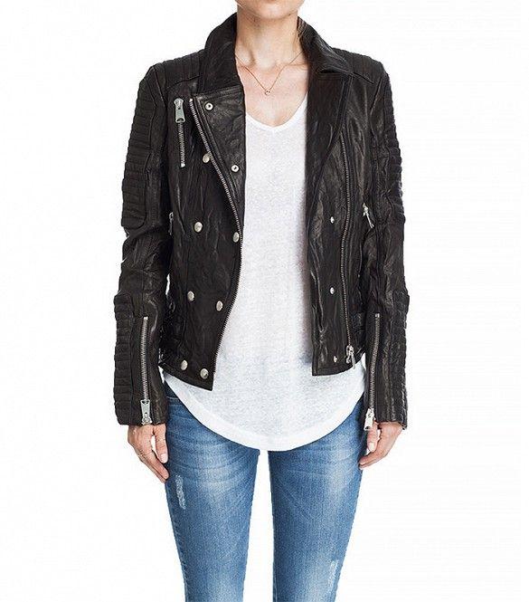 Anine Bing Moto Leather Jacket in Black