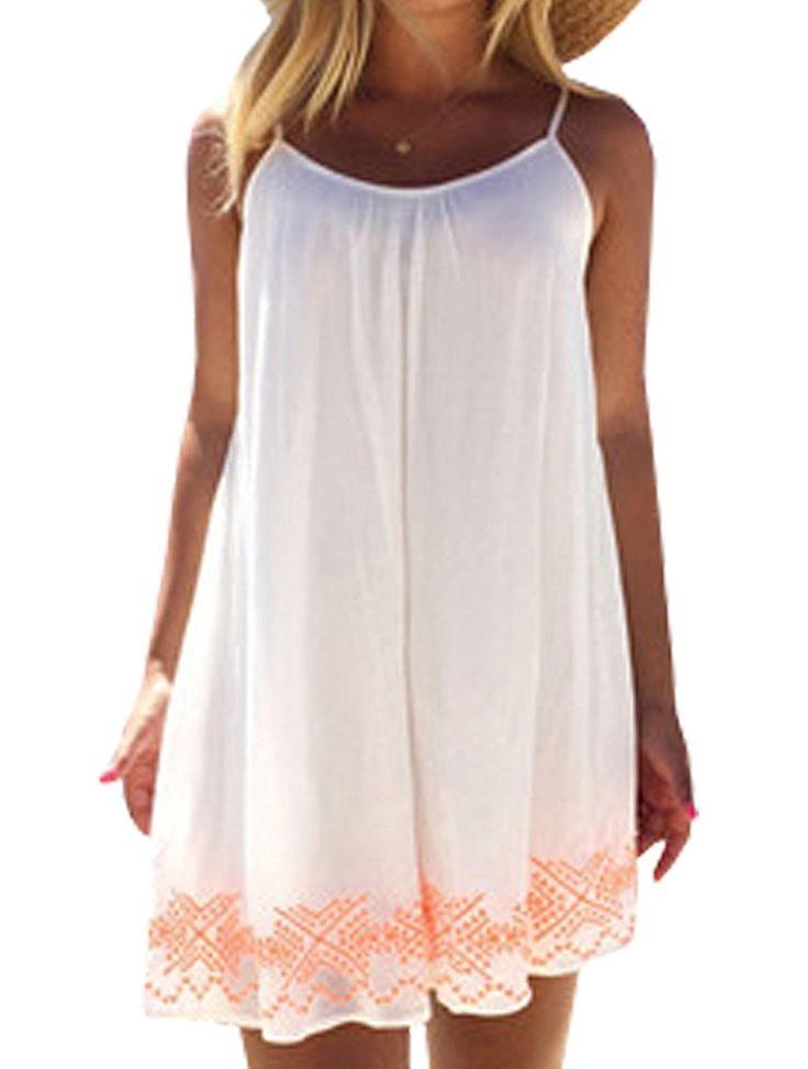 Neu Damen Strandkleid Minikleid Oberteile ärmellos rückenfrei Sling Blumen  bedruckt Neckholder Cover Up Frauen Sommerkleid Partykleid