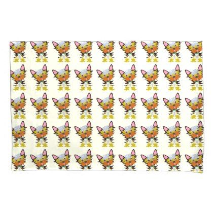 #Adorable Yorkie Cartoon Reversible Yellow Pillowcase - #yorkshire #terrier #puppy #terriers #dog #dogs #pet #pets #cute #yorkshireterrier
