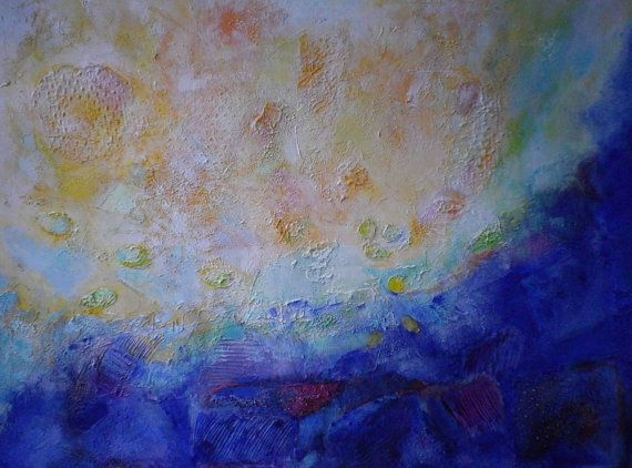 """Original Abstract Textured Undercoat Acrylic Painting on Canvas """"Dialogue"""" 15,75 x 23,62 """" Multicoloured"""