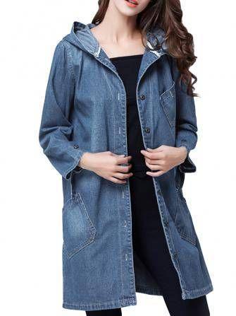 Vintage Women Brief Single Breasted Pocket Hooded Denim Jacket