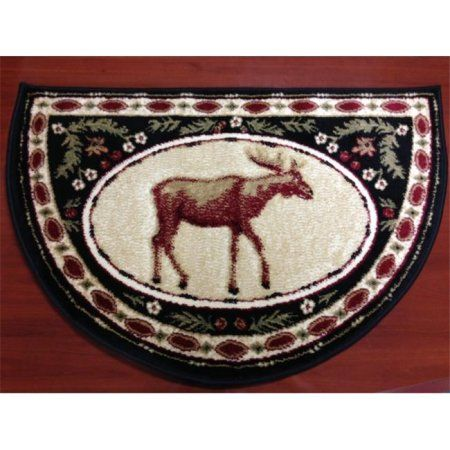 IMS 28625620872640 Hearth Rug Wild Life Moose Design Lodge Cabin Fireplace, Green Red - 2 x 3 ft. - Walmart.com